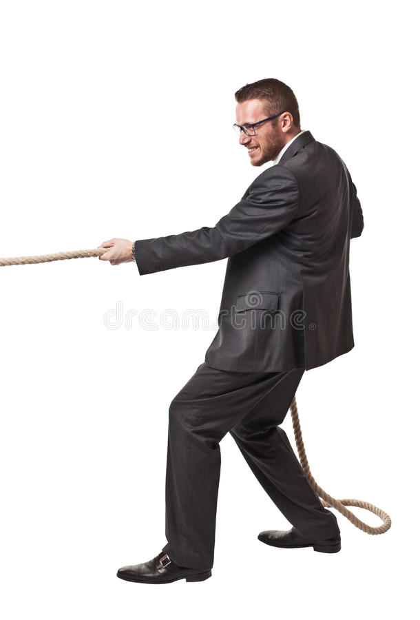 Man pull rope. Isolated on white background stock photo