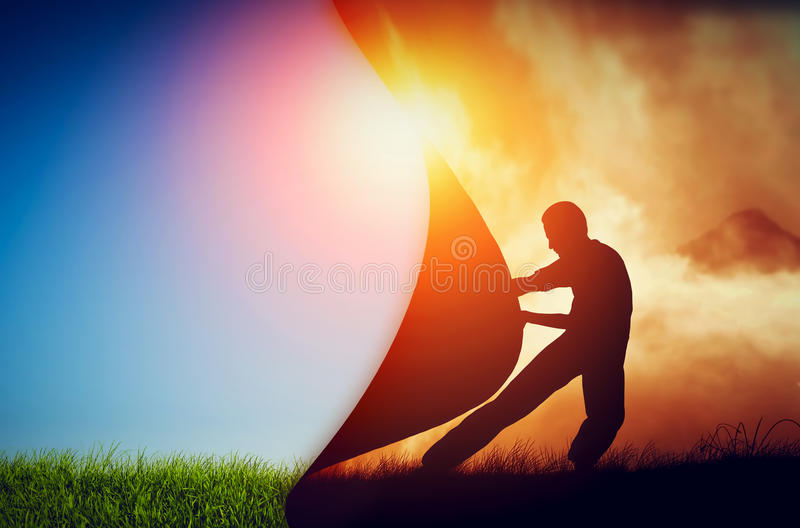 Man pulling curtain of darkness to reveal a new better world. Change. royalty free stock photos