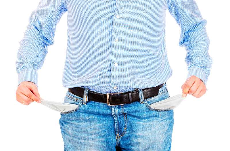 Man pulling out empty pockets stock photos
