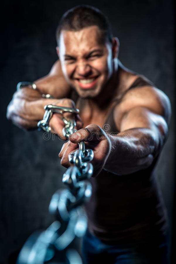 Free Man Pulling The Chain Royalty Free Stock Image - 32236686