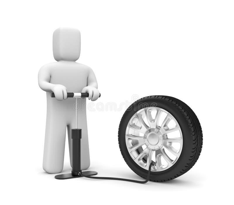 The Man Pump Wheel Stock Photo