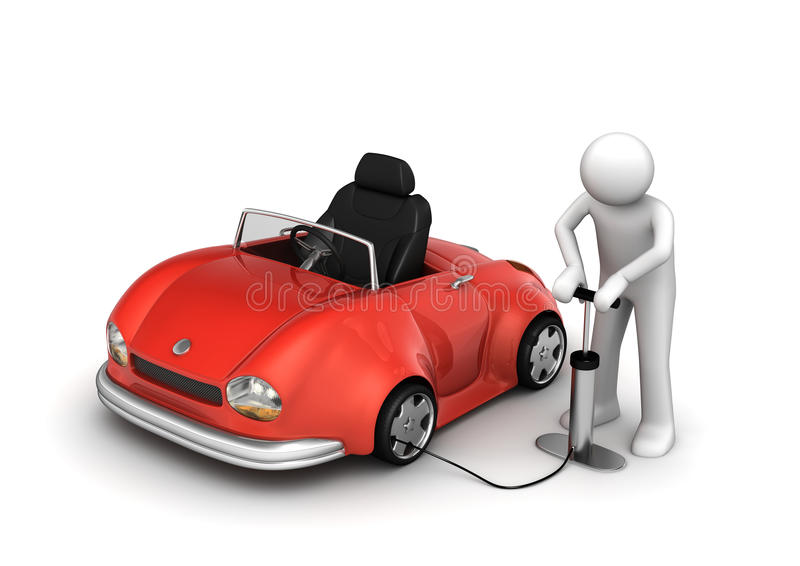 Man pumping red cabrio's tyre royalty free illustration