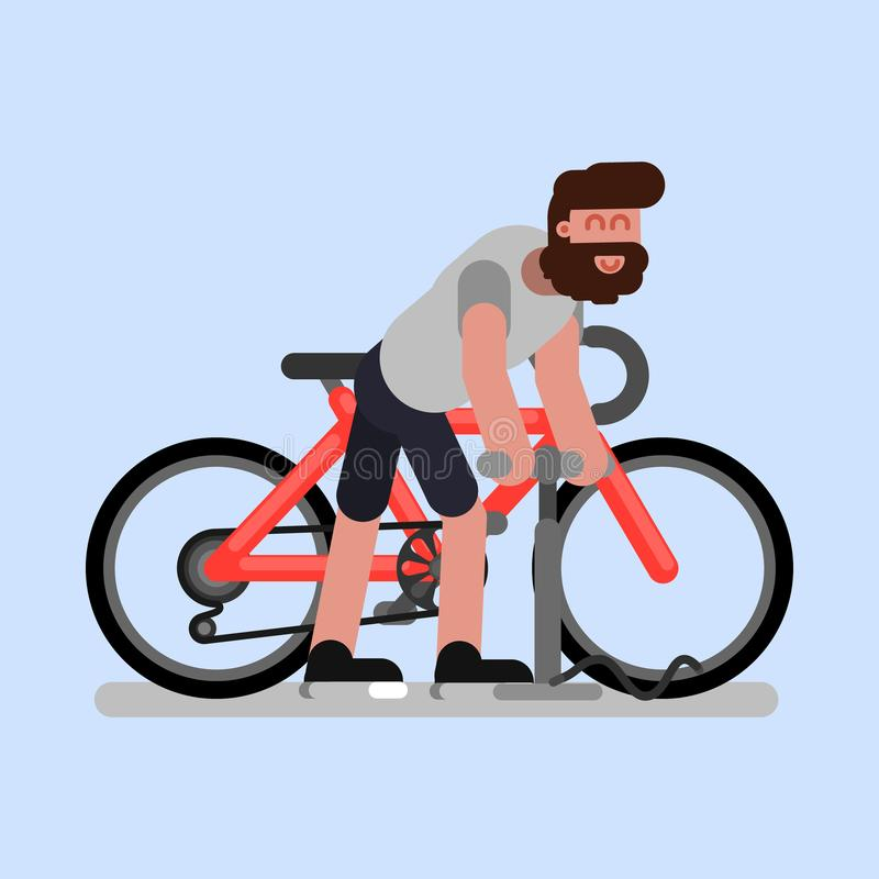 Man pumps the wheel of his bike vector illustration