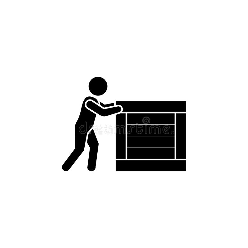 Man pushes a big box. Courier icon. Man pushes a big box vector illustration