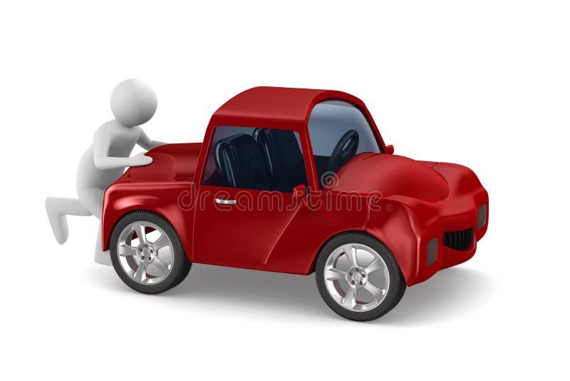 Man pushes broken car. 3D image vector illustration