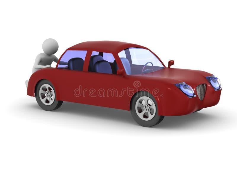 Man pushes broken car. Isolated 3D illustration.  vector illustration