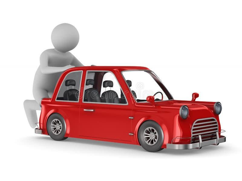 Man pushes broken car on white background. Isolated 3D illustration.  royalty free illustration