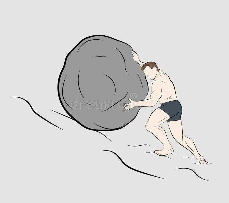 Man pushes a stone up. vector illustration.  vector illustration