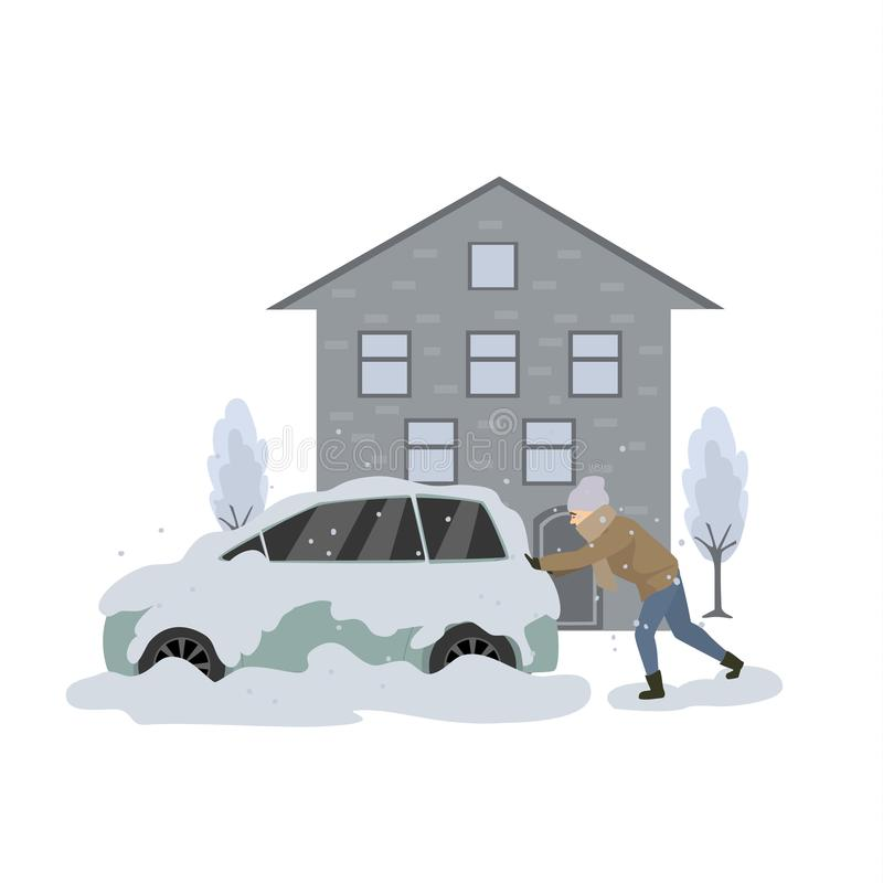 Man pushes stuck in snow and ice car during blizzard. Vector illustration stock illustration