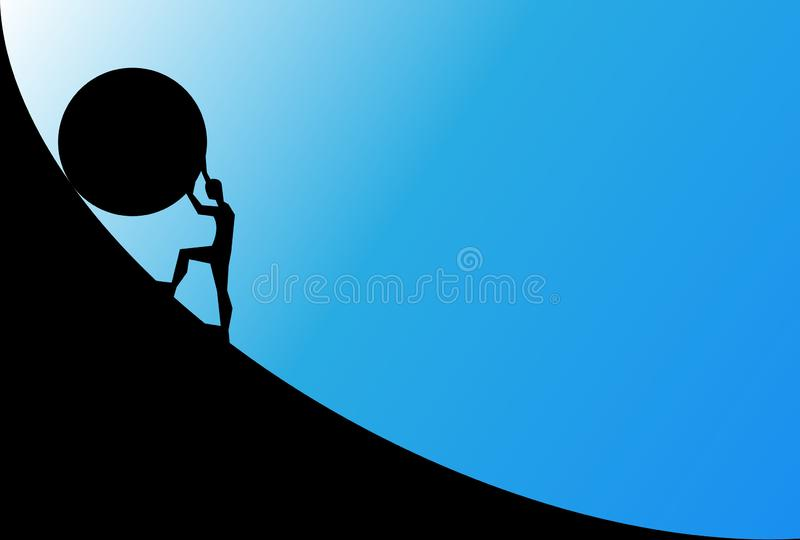Man pushing big boulder uphill with blue sky. Concept of fatigue, effort, courage. Vector cartoon black silhouette in flat design. Isolated on blue background vector illustration