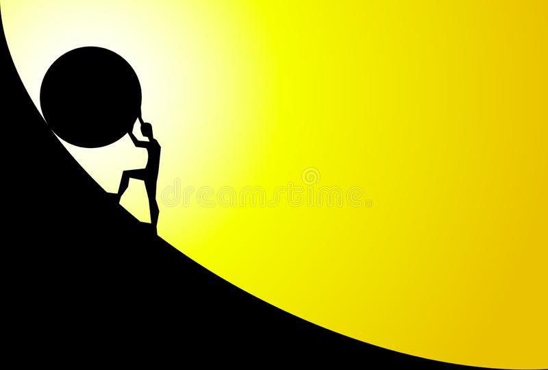 Man pushing big boulder uphill with sky. Concept of fatigue, effort, courage. Vector cartoon black silhouette in flat design. Man pushing big boulder uphill with vector illustration