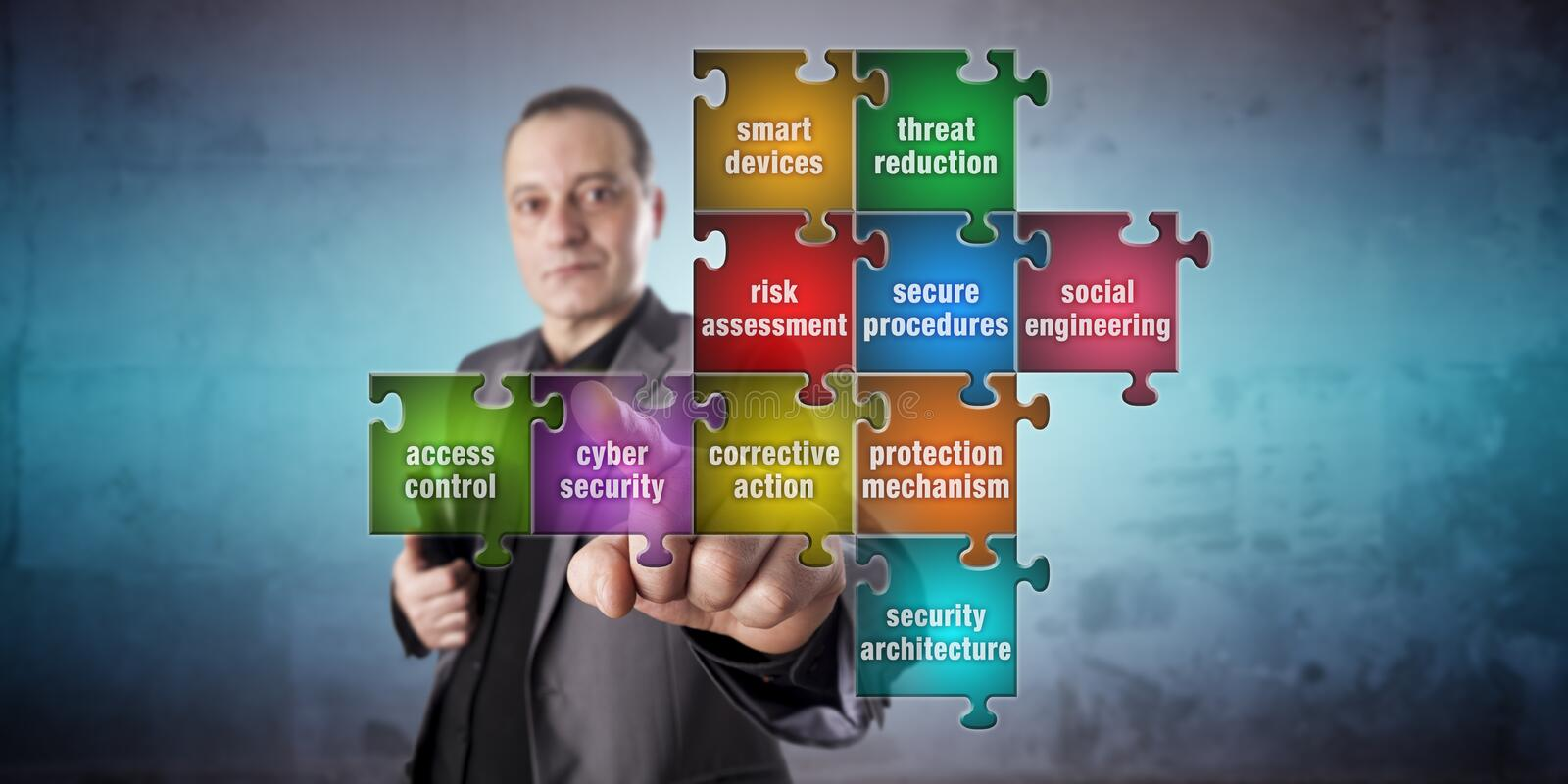 Man Pushing Cyber Security Piece In Jigsaw Puzzle stock photo