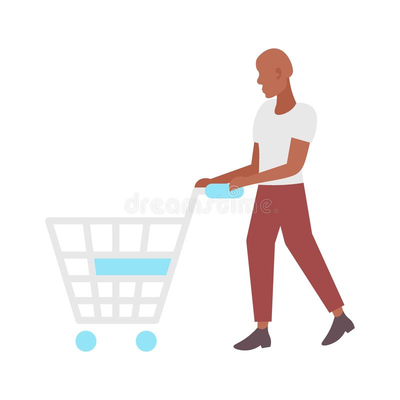 Man pushing empty trolley cart african american guy customer shopping concept male cartoon character full length flat vector illustration