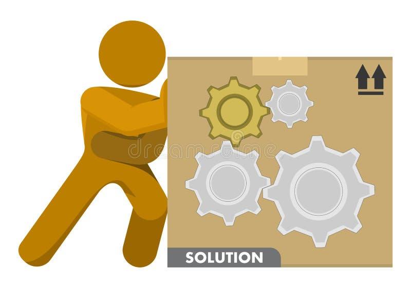 Man Pushing Gear Wheels Solution Box Illustration vector illustration