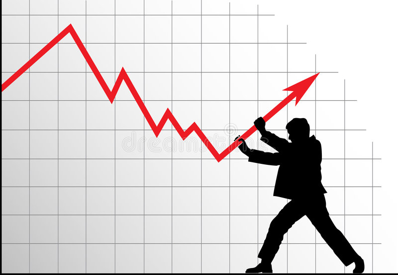 Man Pushing The Graph Up Royalty Free Stock Photography