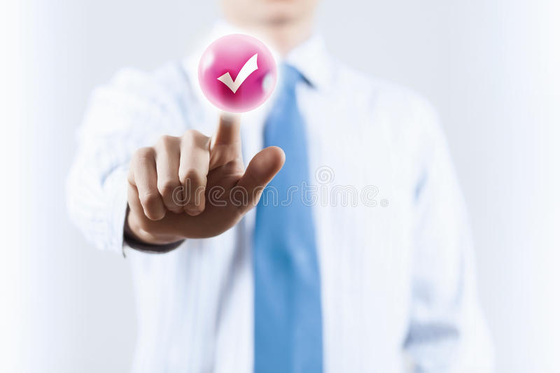 Man pushing icon. Close up of businessman touching icon on media screen royalty free stock photo