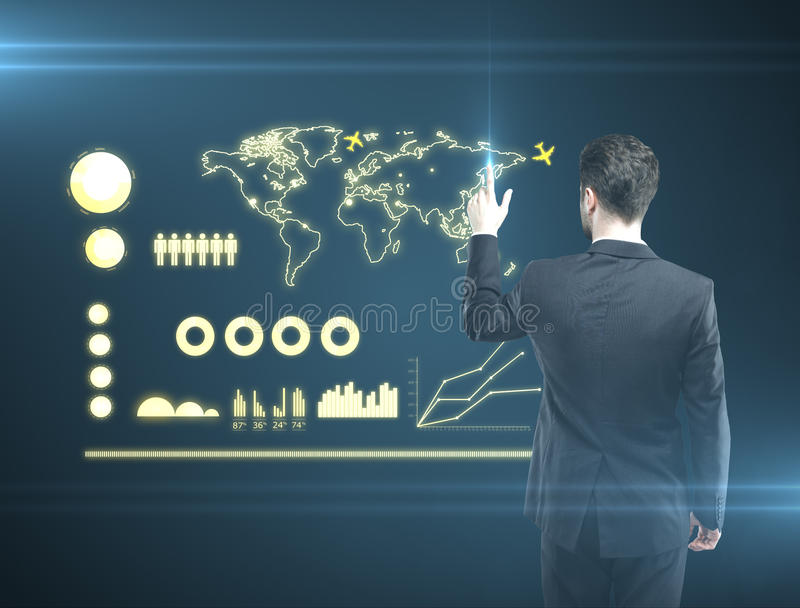 Download Man pushing interface stock illustration. Illustration of choice - 25643245