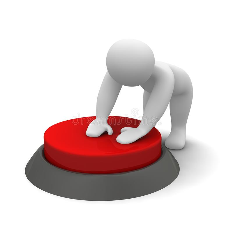 Download Man pushing red button stock illustration. Image of pushing - 14291969