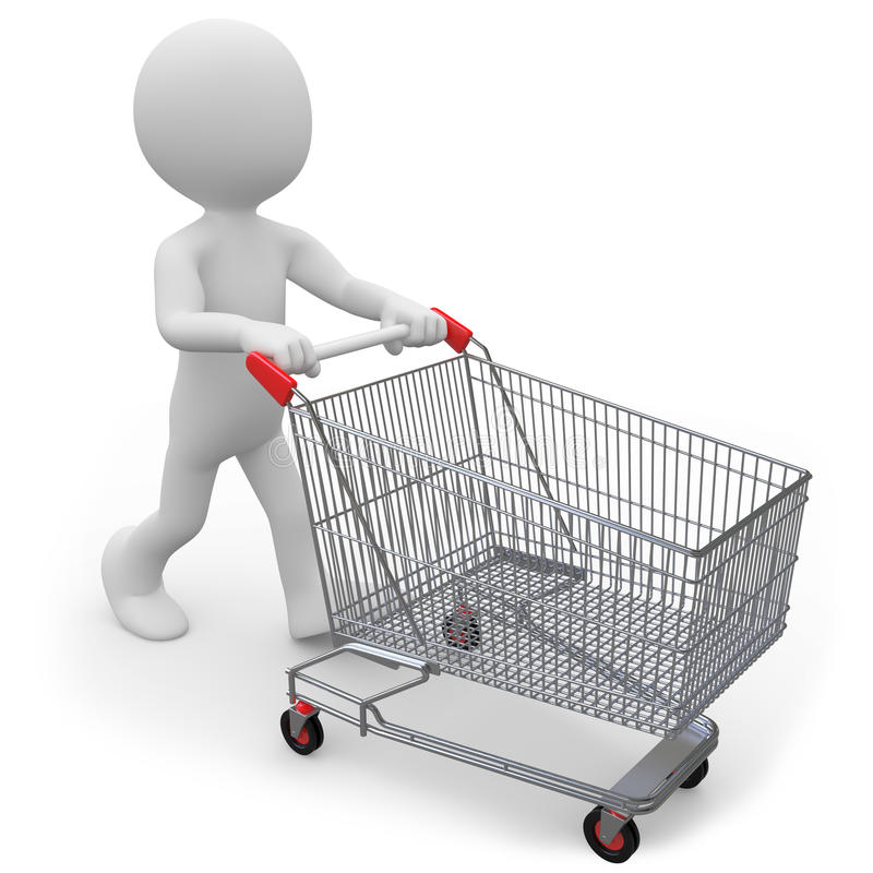 Download Man Pushing A Shopping Cart Empty Stock Illustration - Illustration of metal, purchase: 19880286