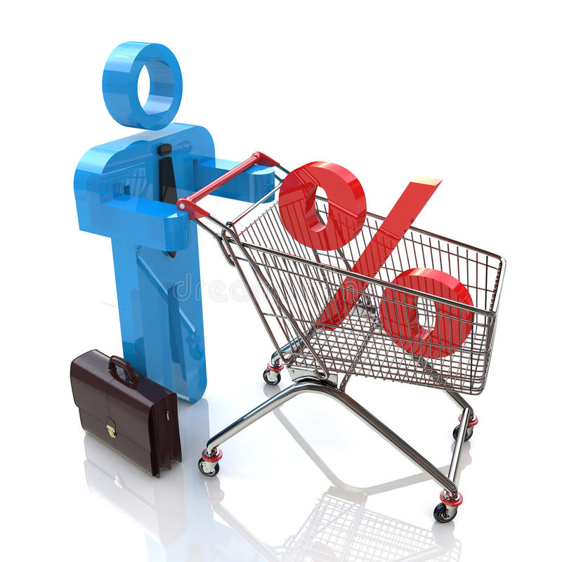 Download Man Pushing A Shopping Cart With Percent Stock Illustration - Illustration: 35998362