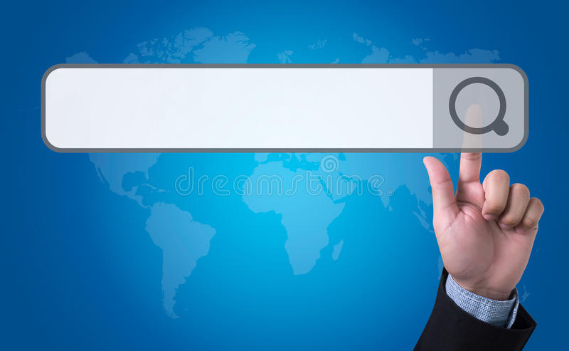 man pushing (touching) virtual web browser address bar or search royalty free stock photography