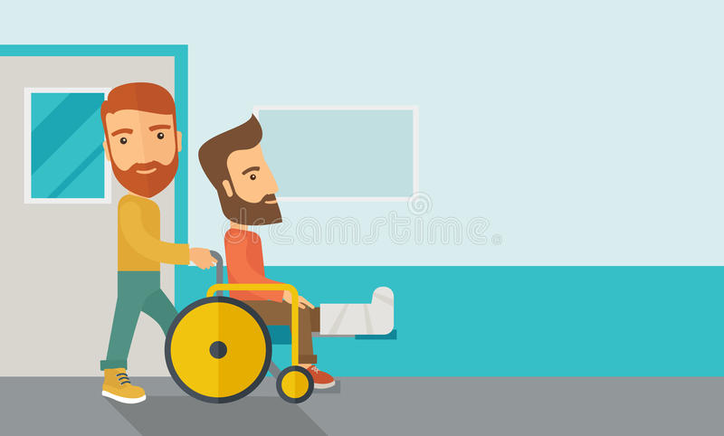 Man pushing the wheelchair with broken leg patient vector illustration