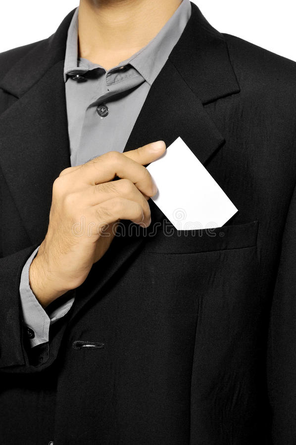 Man Put Blank Business Card In Pocket Stock Image - Image: 26718651