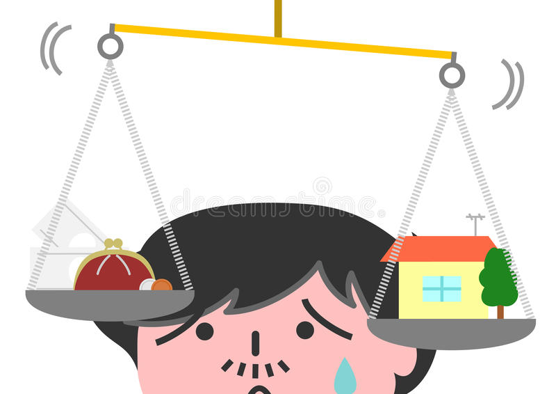 Man put the house and money on the balance. With worried look stock illustration