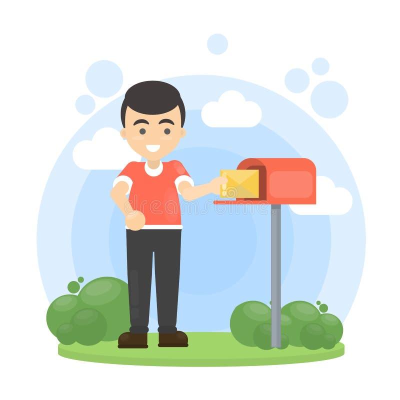 Man put letter in mailbox. stock illustration