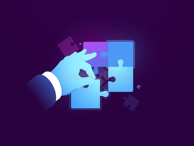 Man puts puzzle, business concept, solving a logical problem, business people collect puzzle, task management concept stock illustration