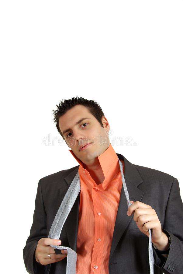 Man Putting a tie royalty free stock images