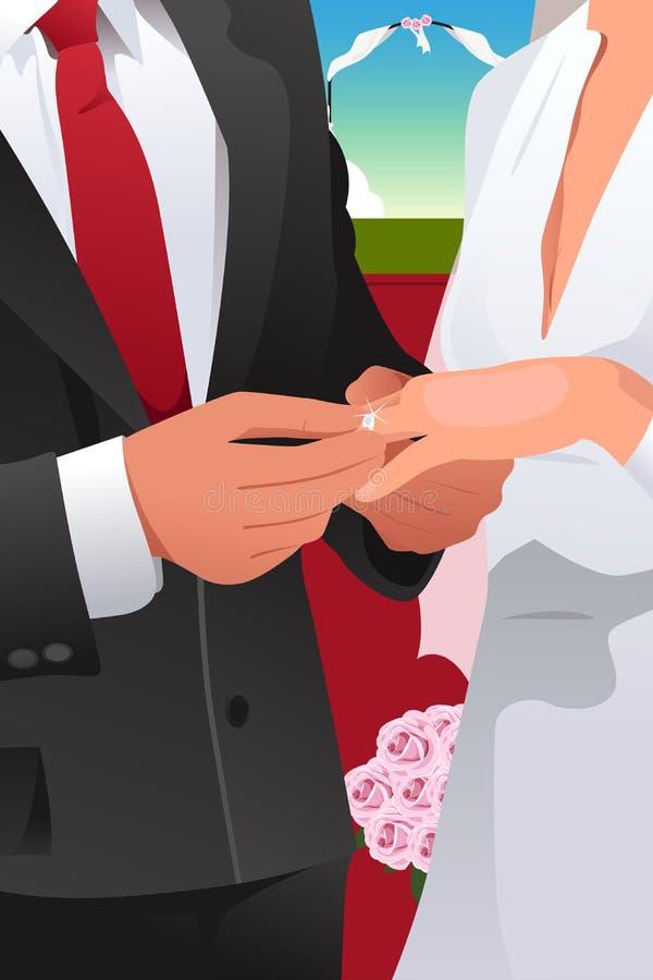 Man putting wedding ring. A vector illustration of man putting wedding ring on woman hand vector illustration