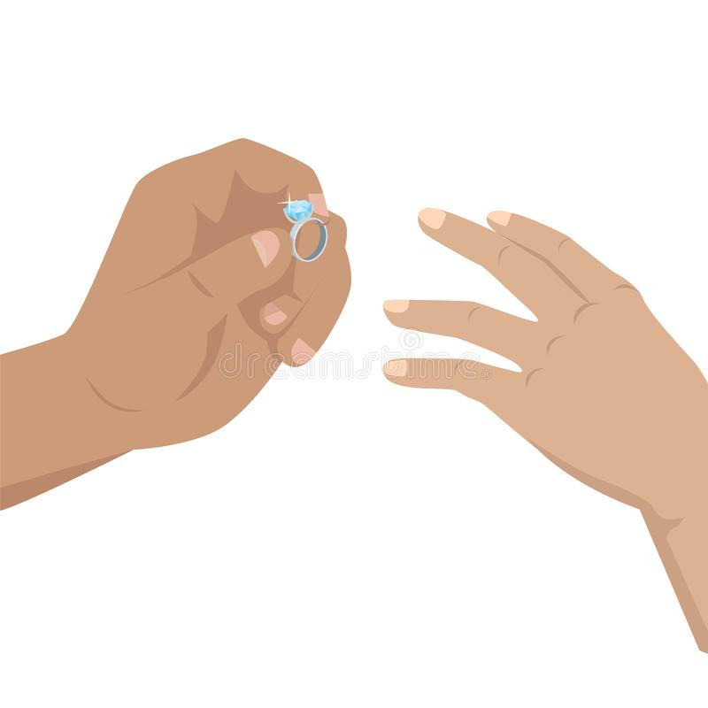 Man Putting on Woman s Hand Blue Diamond Ring. Man putting on woman s hand diamond ring with blue shiny stone. Vector illustration of wedding or betrothal stock illustration
