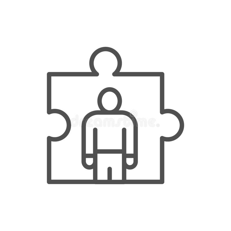 Man in a puzzle, human resource management, recruitment and hiring line icon. vector illustration