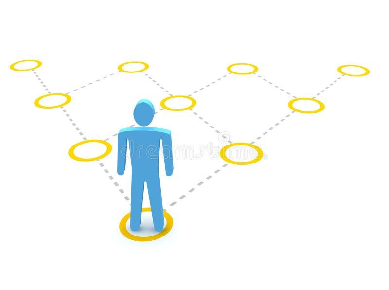 Man and pyramidal diagram vector illustration