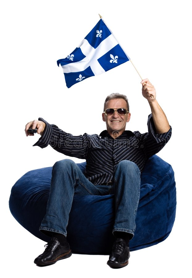Man with a quebec flag stock image
