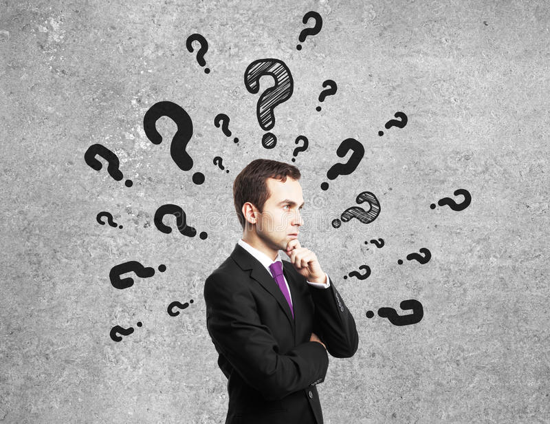 Download Man with questions mark stock image. Image of manager - 28636613