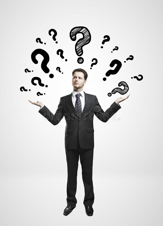 Download Man and questions mark stock image. Image of clothing - 28636703