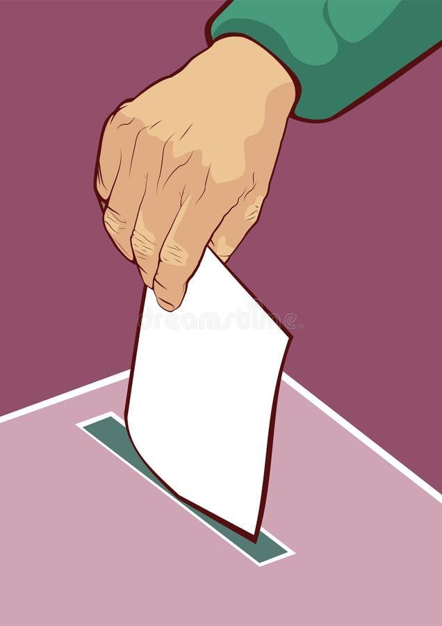 Man röstningen som förlägger hans sluten omröstning i asken royaltyfri illustrationer