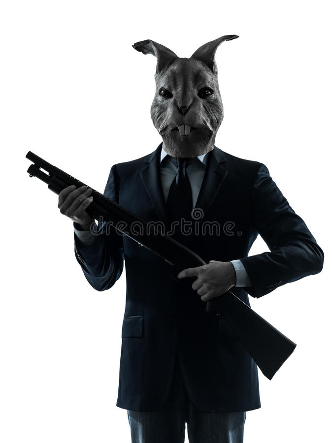 Man With Rabbit Mask Shotgun Silhouette Royalty Free Stock Photography