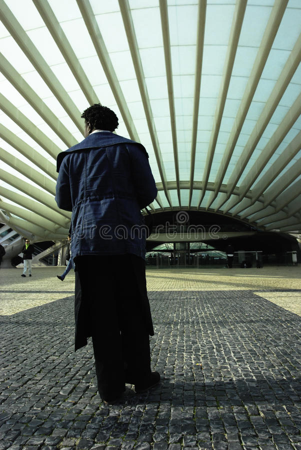 Man at the railway station royalty free stock images