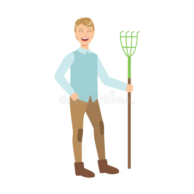 Man With Rake, Cartoon Adult Characters Cleaning And Tiding Up. Smiling Person With House Cleanup Tool Doing Up Vector Illustration royalty free illustration