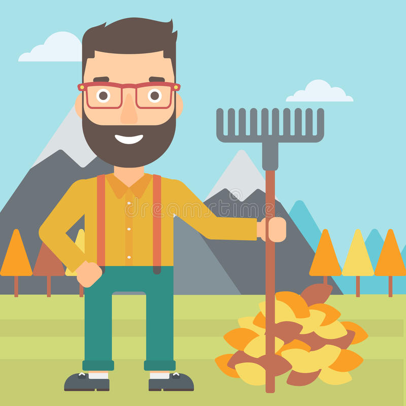 Man with rake standing near heap of autumn leaves. A hipster man with rake standing near heap of autumn leaves on the background of mountain landscape vector stock illustration