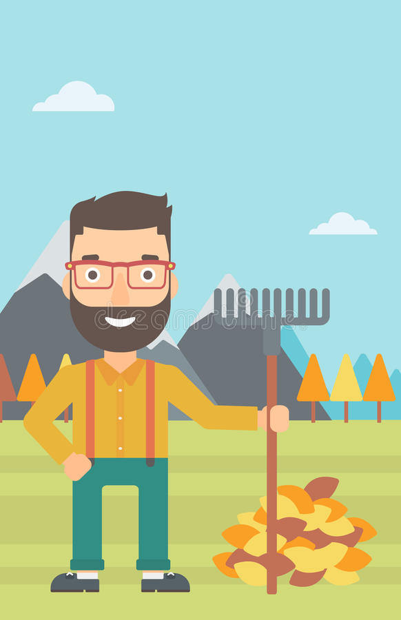 Man with rake standing near heap of autumn leaves. A hipster man with rake standing near heap of autumn leaves on the background of mountain landscape vector royalty free illustration