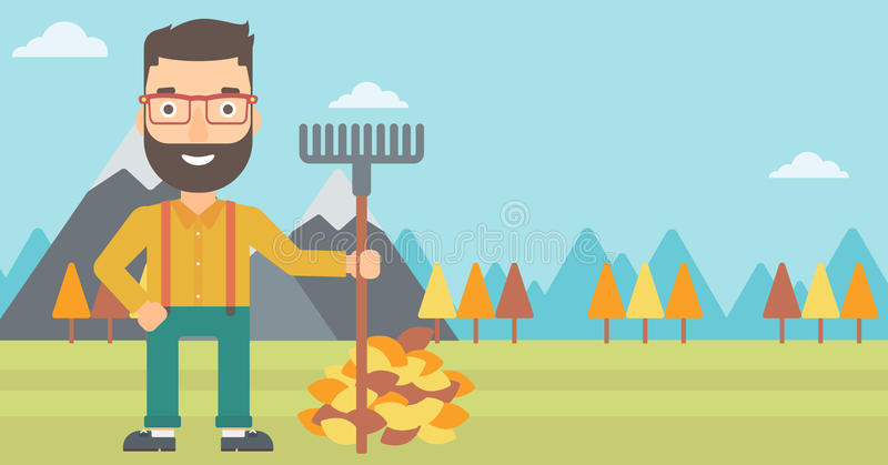 Man with rake standing near heap of autumn leaves. A hipster man with rake standing near heap of autumn leaves on the background of mountain landscape vector vector illustration