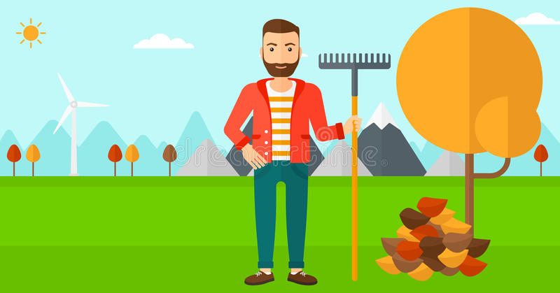 Man with rake standing near tree and heap of autumn leaves. A hipster man with rake standing near tree and heap of autumn leaves vector flat design illustration stock illustration