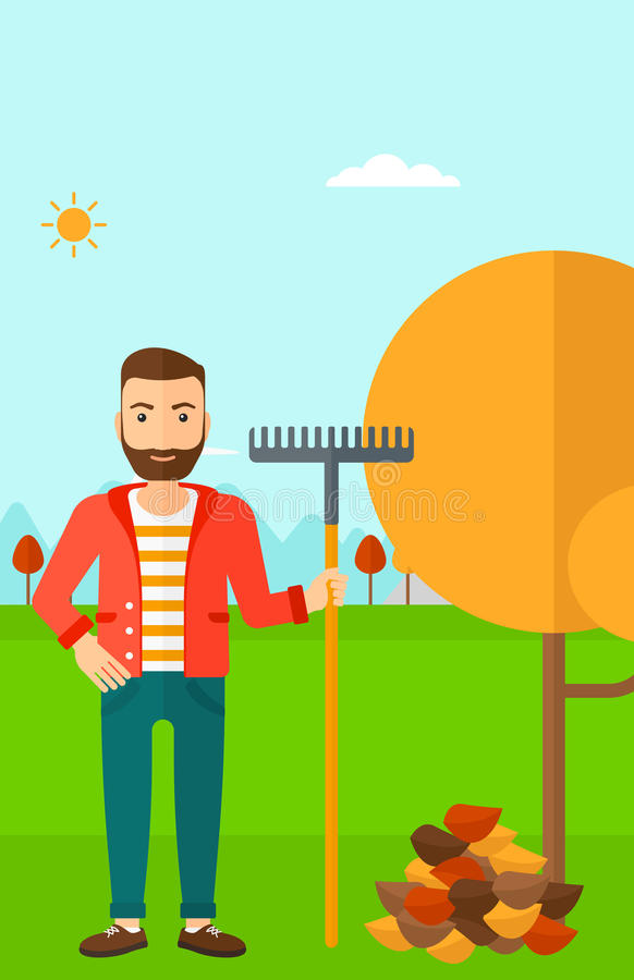 Man with rake standing near tree and heap of autumn leaves. A hipster man with rake standing near tree and heap of autumn leaves vector flat design illustration royalty free illustration