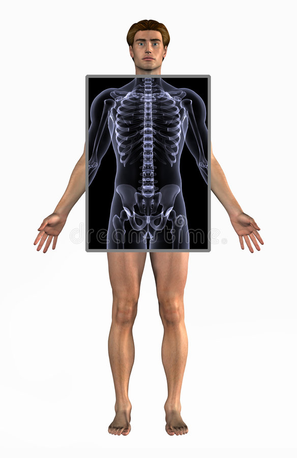 Man with X-Ray - with clipping path vector illustration