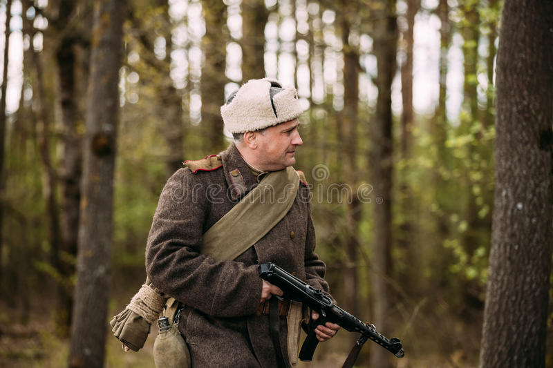 Man Re-enactor Dressed As Russian Soviet Red Army Infantry Soldi. Pribor, Belarus - April 23, 2016: Man Re-enactor Dressed As Russian Soviet Red Army Infantry royalty free stock photo