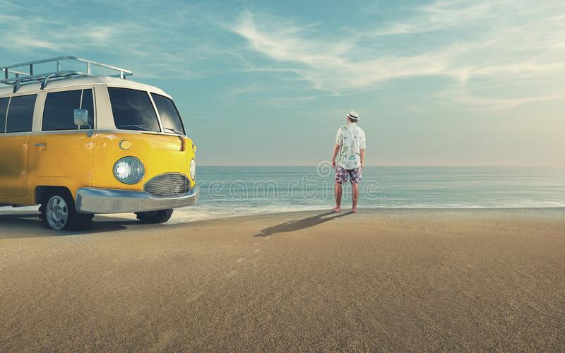 Young man riding a car on the seashore. Man reach the sea and looks to horizon with his van parked close to the sea royalty free stock photos